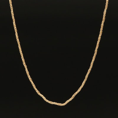 Italian 14K Twisted Foxtail Chain Necklace
