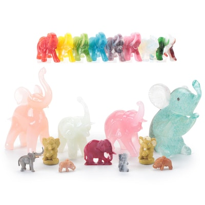 Glass, Satin Spar, Opalite and Other Elephant Figurines