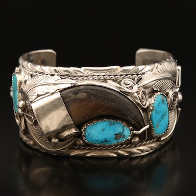Mike Thomas Jr Navajo Diné Sterling Black Bear Claw and Turquoise Cuff