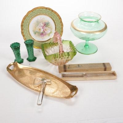 Czech Malachite Vases, Handblown Art Glass and Accessories
