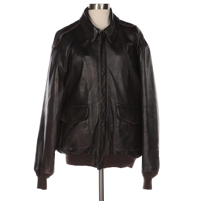 Men's Cockpit Air Force US Army Dark Brown Leather Bomber Jacket