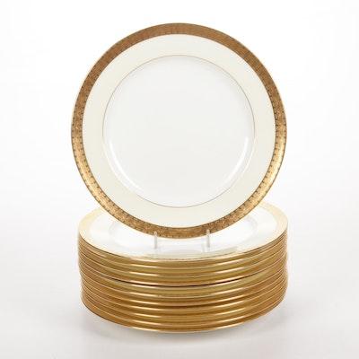 Minton Gilt Decorated Bone China Dinner Plates