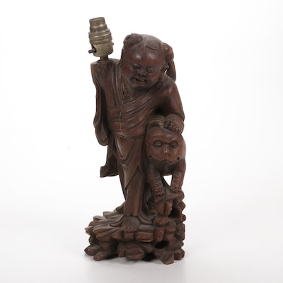 Chinese Carved Wood Figural Table Lamp Base