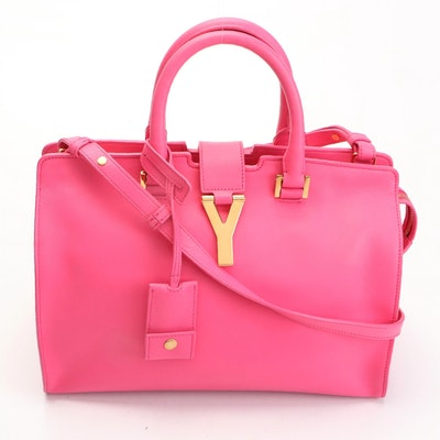 Saint Laurent Small Classic Y Cabas Bag in Pink Calfskin Leather