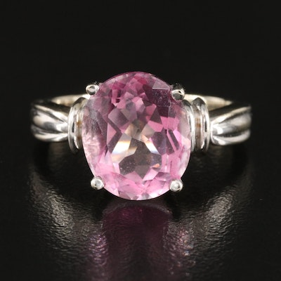 14K Pink Sapphire Solitaire Ring with Fluted Shoulders