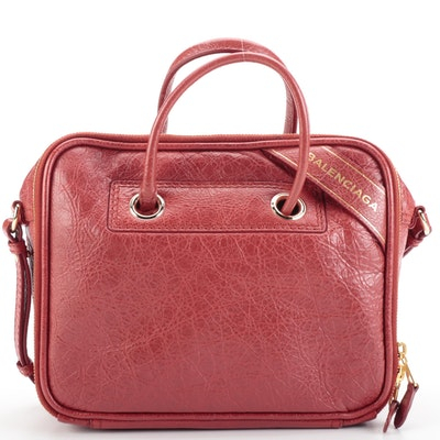 Balenciaga Blanket Square Shoulder Bag Small in Red Grained Leather