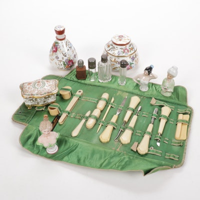 Vanity Collection with Celluloid Manicure Set, Lady Heads, and Dresser Jars