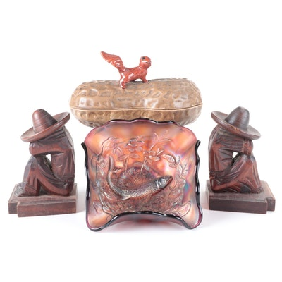 Carnival Glass Bowl with Fish Motif, Mexican Carved Wood Bookends, and Nut Dish