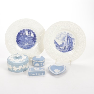 Wedgwood Smith College Pictorial Plates with Other Blue Wedgwood Decor