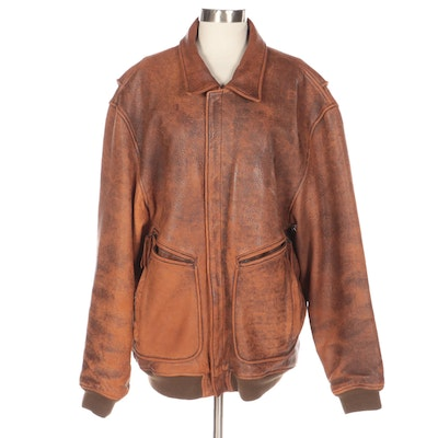 Men's Zip-Up Leather Bomber Jacket by The Territory Ahead