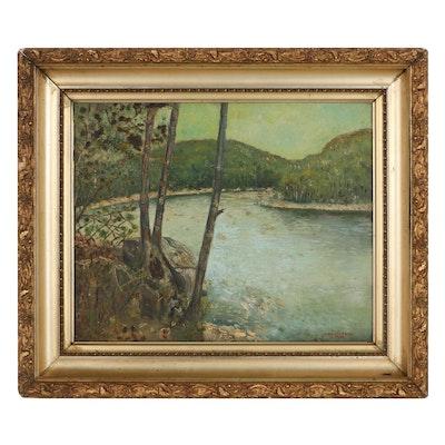 Abraham Rosenthal Landscape Oil Painting of Lake, 1936