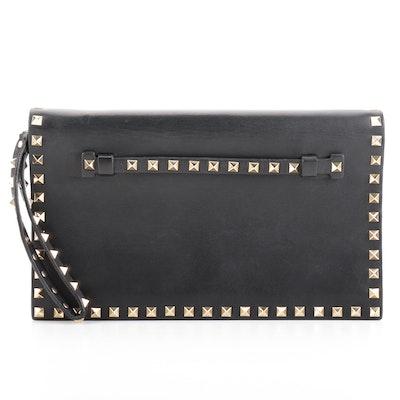 Valentino Rockstud Flap Clutch in Black Leather