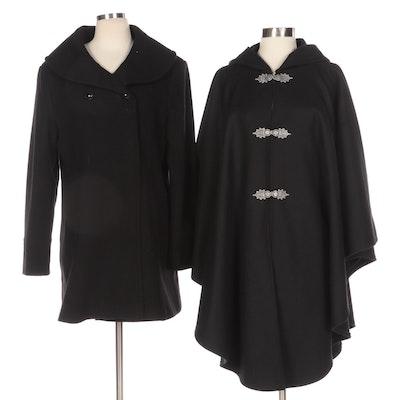 Johnson Woolen Mills Cape and Orvis Wool Blend Coat in Black