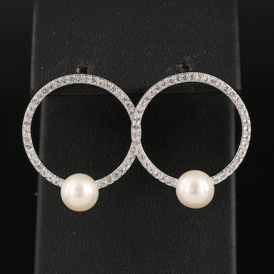 Sterling Silver Topaz Circle Drop Earrings with Pearl Accent