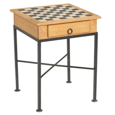 Wooden Games Table on Welded Metal Base