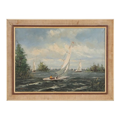 Gerard Johannes Ernens Oil Painting of Sailboats