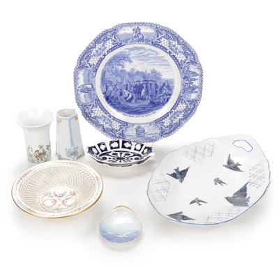 "Victoria ""Blue Bird"" Porcelain Tray, Decorative Bowls and Vases"