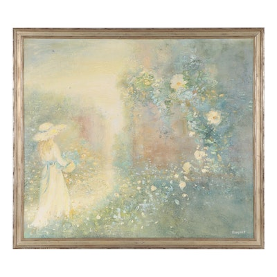 """L. August Oil Painting """"The Garden Gate,"""" Mid-20th Century"""