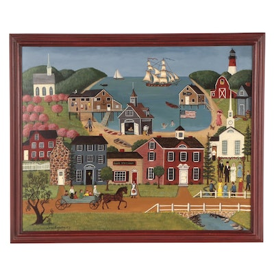 Jane Eckelberry Folk Art Oil Painting of Quaint Town, Late 20th Century