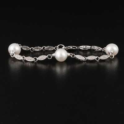 Sterling Silver Pearl and Diamond Station Bracelet