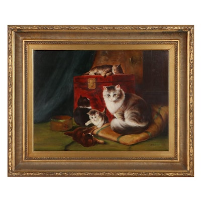 Borofsky Oil Painting Mother Cat and her Kittens, Mid to Late 20th Century