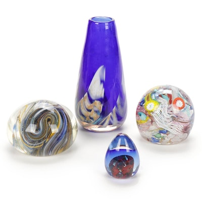 Ray Nelson Glass Art Vase With Blown Glass Paperweights
