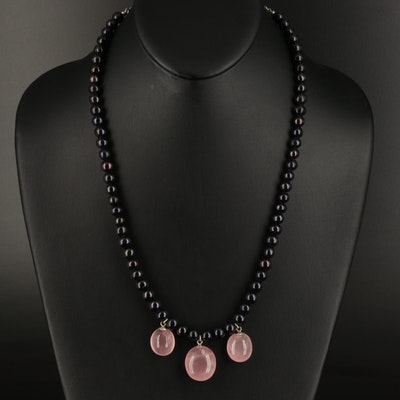 Sterling Rose Quartz and Pearl Necklace