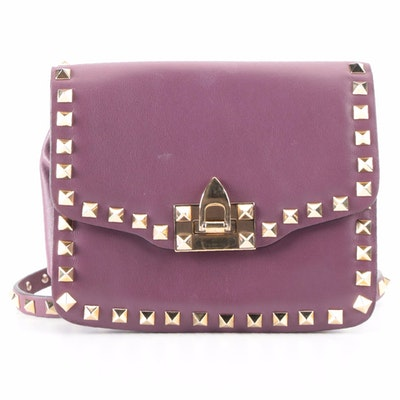 Valentino Small Rockstud Flip-Lock Crossbody Bag in Purple Leather