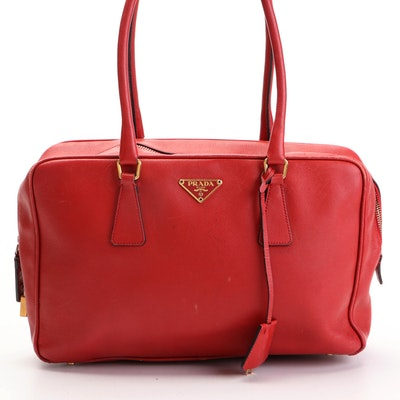 Prada Bowler Bauletto Bag in Red Saffiano Leather