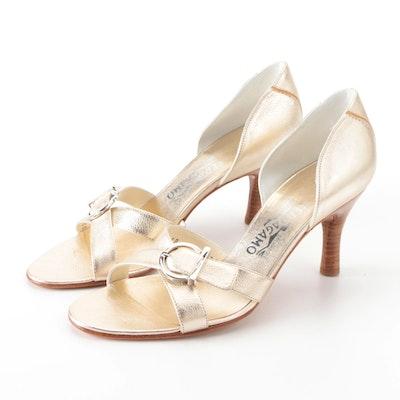 Salvatore Ferragamo Achillea Cross Buckle Heels in Gold Metallic Leather