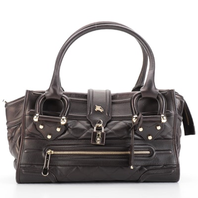 Burberry Manor Quilted Satchel Large in Brown Calfskin
