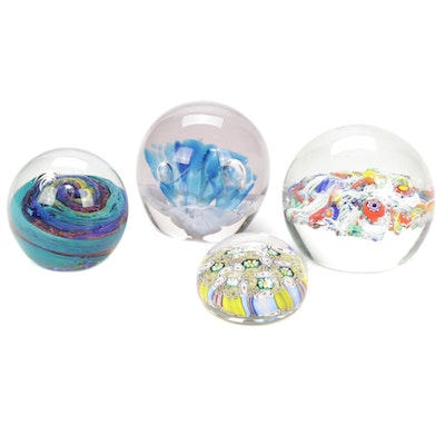 Gentile Glass Paperweight With Other Blown Glass Paperweights