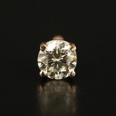 14K 0.43 CT Diamond Single Stud Earring