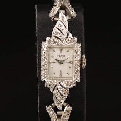 14K Elgin Diamond Stem Wind Wristwatch