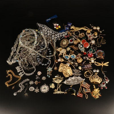 Rhinestone Jewelry Collection with 800 Silver and Mickey Mouse Collector's Pin