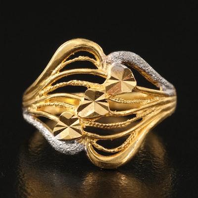 22K Diamond Cut Openwork Ring