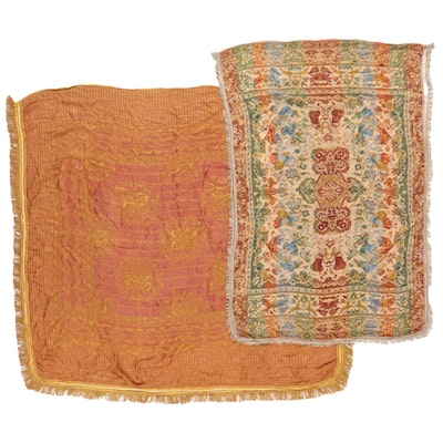 French Style Machine Woven Jacquard Coverlets, Late 20th Century