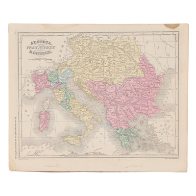 Francis McNally Hand-Colored Lithograph Map of European Countries