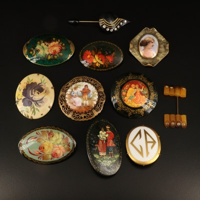 Antique and Vintage Brooches Including Signed Russian Palekh Lacquer Brooch