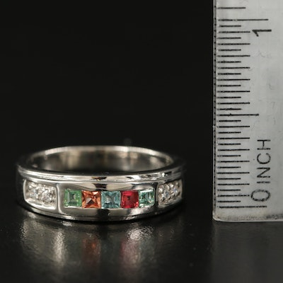Sterling Gemstone Band with Tourmaline and Pink Sapphire