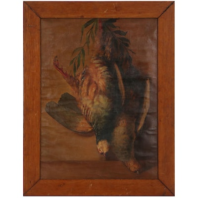 Trompe-l'œil Still Life Oil Painting of Game Fowl, 19th Century