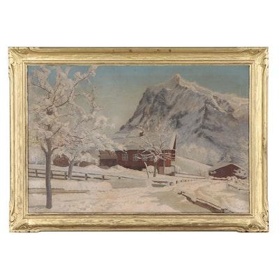 Louis Saphier Winter Landscape Oil Painting