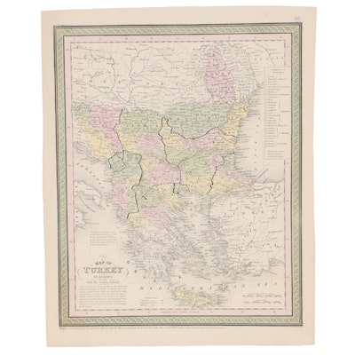 Thomas, Cowperthwait & Co Hand-Colored Lithograph Map of Turkey