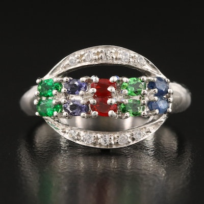 Sterling Silver Sapphire, Diopside and White Zircon Ring