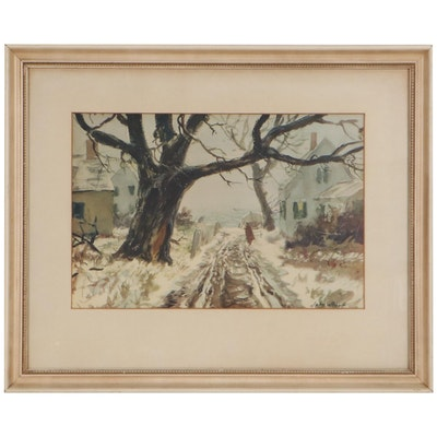 Winter Landscape Watercolor Painting, Mid-20th Century