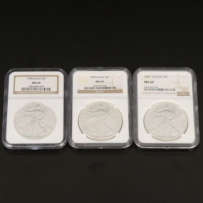 Three NGC Graded MS69 $1 American Silver Eagle Bullion Coins