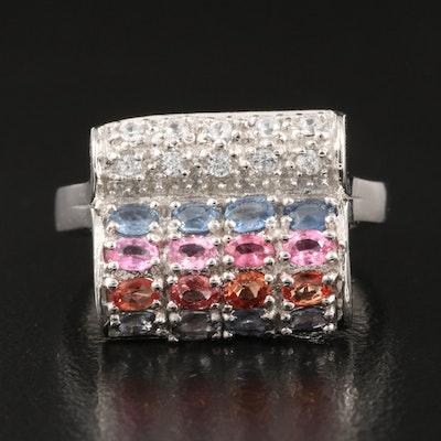 Sterling Silver Sapphire, Garnet and White Zircon Ring