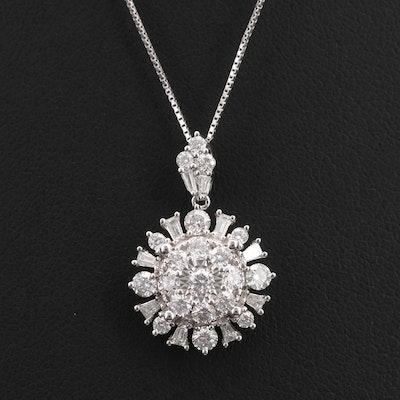 10K 1.00 CTW Diamond  Pendant Necklace