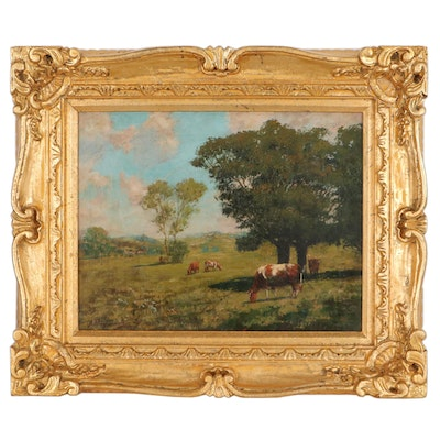 James Henry Hagaman Bucolic Landscape Oil Painting, Late 19th Century