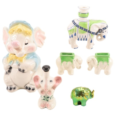 Zsolnay Eosin Elephant with McCoy Cookie Jar, Fitz & Floyd Candlestick, and More